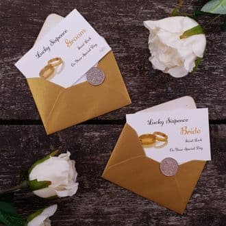 Traditional Bride & Groom Wedding Good Luck Keepsake With Genuine Sixpence - Gold Rings Collection