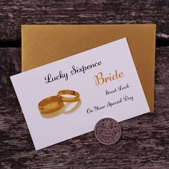 Traditional Bride Wedding Good Luck Keepsake With A Genuine Sixpence - Gold Rings Collection