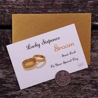 Traditional Groom Wedding Good Luck Keepsake With A Genuine Sixpence - Gold Rings Collection