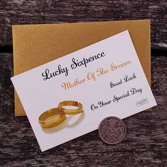 Traditional Mother Of The Groom Wedding Good Luck Keepsake With Genuine Sixpence - Gold Rings