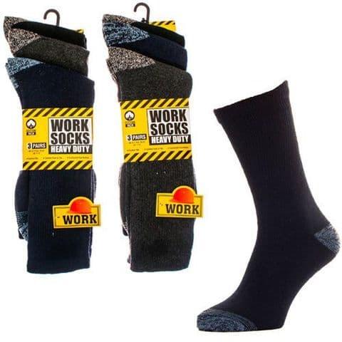 3 Pack Men Work Socks Heavy Duty Work Socks Black with Colour Toe 80% Cotton RP9
