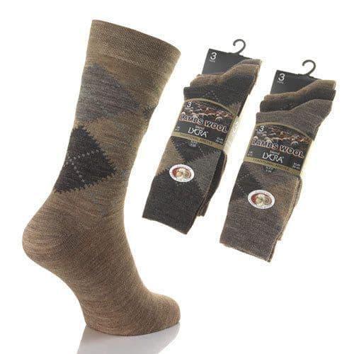 3 Pair Mens Lamb wool Blend Short Socks Gents Argyle 7-11 size UK Gift 4 Him