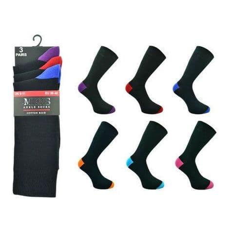 3 Pair Mens Socks Coloured Heel & Toe 55% Cotton Rich   6-11 size UK Gift 4 Him