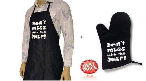 Apron &Oven Gloves Set Cooking Chef Kitchen Men Ladies Women Dont Mess with Chef