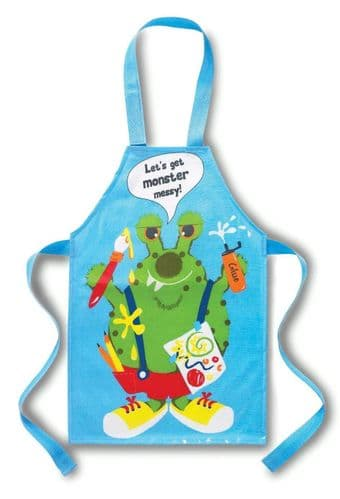 Cooksmart Children PVC Apron Lets Get Monster Messy Blue Kids PVC wipe clean Apr