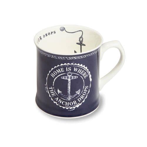 Cooksmart Coastal Home Blue Fine China Tankard Mug, Multi-Colour Mug Tea Coffee