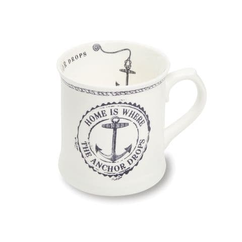 Cooksmart  Coastal Home White Fine China Tankard Mug, Multi-Colour