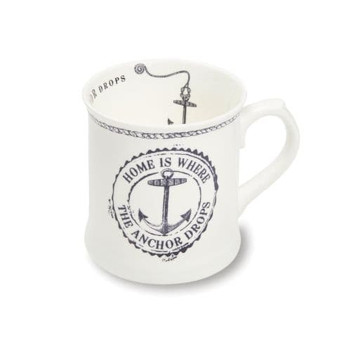 Cooksmart Coastal Home White Fine China Tankard Mug, Multi-Colour Mug Tea Coffee