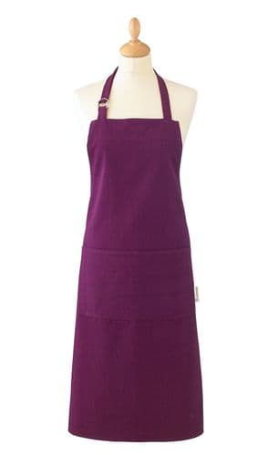Cooksmart Heavyweight Plain Dye Apron  Aubergine Strap Pocket Chef Cooks Butcher