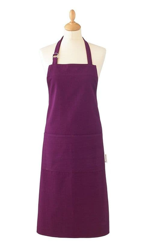 Cooksmart Heavyweight Plain Dye Apron  Aubergine Strap Pocket Chef Cooks Butcher