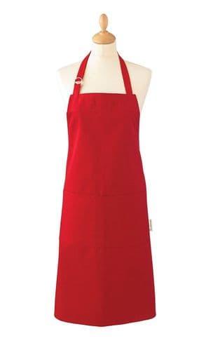Cooksmart Heavyweight Plain Dye Apron Red Strap Pocket Chef Cooks Butcher Bistro
