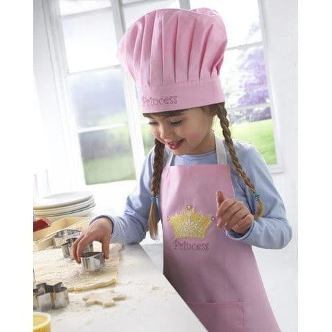 Cooksmart Kids Princess 2 Piece Chef Set With Pocket & Hat kids cotton Apron