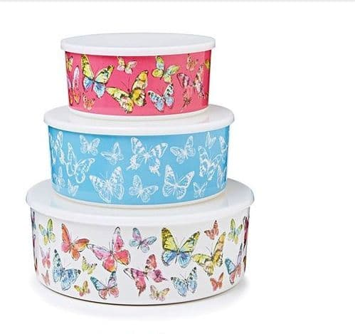 Cooksmart Melamine Butterfly Storage Containers, Set of 3 Food  Storage Tins