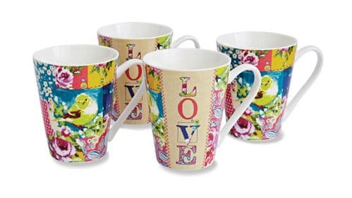 Cooksmart Oriental Patchwork Mugs Set of 4 Vintage Design Tea Coffee Gift Dining