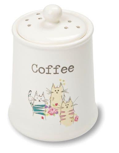Cooksmart Top Cats Ceramic Coffee Canister Jar Storage Kitchen Just in Range