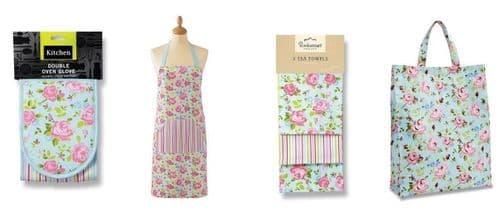 Cooksmart Vintage Floral Double& single Oven Glove,Tea Towels, cotton Apron, Bag