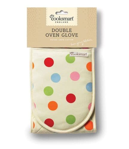 Insulated 100% Cotton Double Oven Gloves by Cooksmart (Spots)