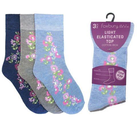 LADIES 3 PACK SOFT TOP SOCKS WITH FLOWERS UK 4-7 Christmas Birthday Gift Womens