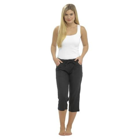 Ladies 100% Cotton Cropped Trouser Women 3/4 Length Shorts UK 10 12 14 16 18 20