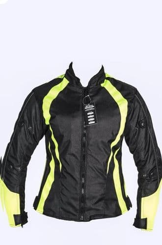 Ladies Armoured Water Proof Cordura Textile Motorbike Motorcycle Jacket HighViz