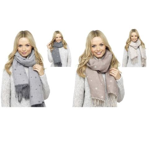 Ladies Blanket Scarf Reversible Star Print Tassel Fringe Soft Shawl Winter Women