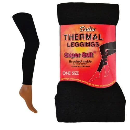 Ladies Brushed Soft Thermal Hot Brushed Leggings Winter One Size Black Polyester