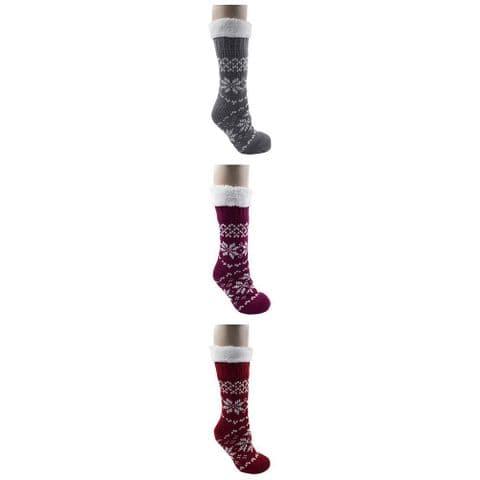 Ladies Fairisle Knit Slipper Bed Winter Socks Grip Foxbury Women UK 4-7 Gift Her