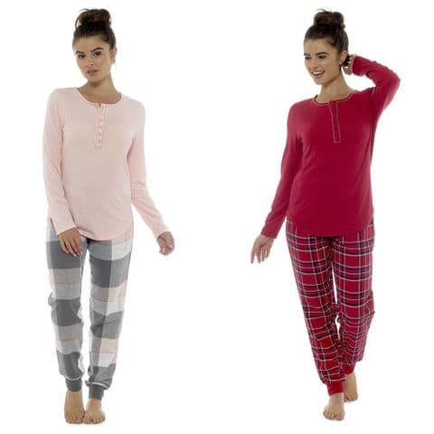 Ladies Henley Top Check Cuff Pants Cotton Jersey V Neck Top Pyjama Set PJ 8-18
