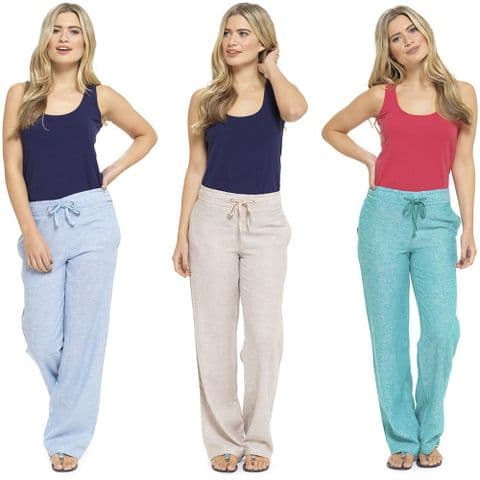 Ladies Linen Trousers Casual Two Tone Bottoms Summer Holiday Womens Wide Pants