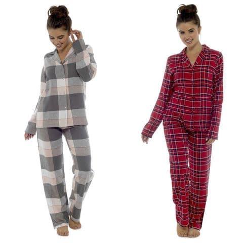 Ladies Traditional Check Long Pyjama Sleepwear Set Girls Nightwear PJ Set Cotton