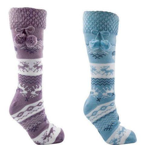 Ladies Winter Socks Fairsile Fleece lining Slipper Bed Women Foxbury S/M M/L New
