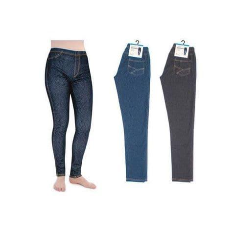 Ladies Women Full Length Stretch Jeggings Legging Blue Black 65%Cotton 25% Nylon