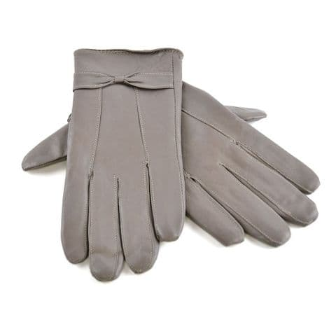Ladies Women Real Leather Gloves lining Driving Winter Grey Medium Large Size