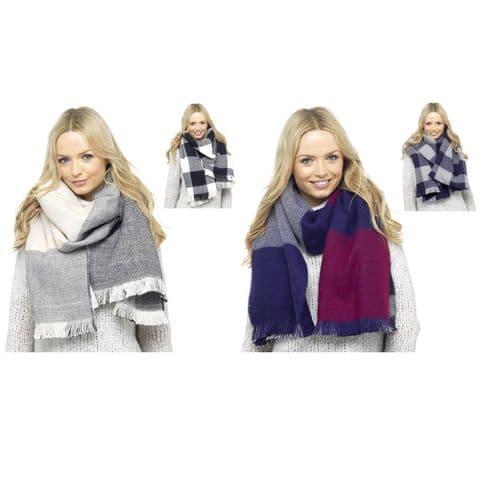 Ladies Women Scarf Winter Reversible Checked Blanket Pattern Tassel Fringe Shawl