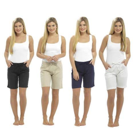 Ladies Women Shorts Linen Summer Beach Casual Size 10 12 14 18 16 Bottom Chinos