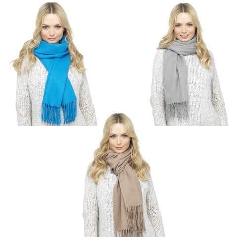 Ladies Women Super Soft Warm Winter Acrylic Scarf Blue Grey Beige Shawl Office
