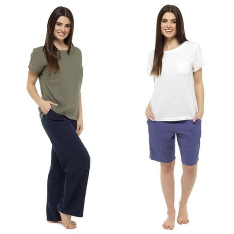 Ladies Womens Linen Trousers Bottoms Summer Pants & T-Shirt Set 10 12 14 16 18