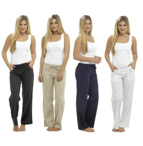 Ladies Womens Linen Trousers Casual Summer Bottoms Summer Pants 10 12 14 16 18
