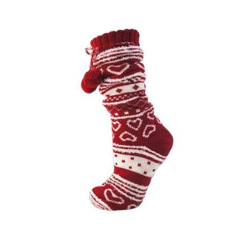 Ladies Womens Slipper Socks Heart Fairlise UK 4-7 Size Winter Pink Red Grey Boot