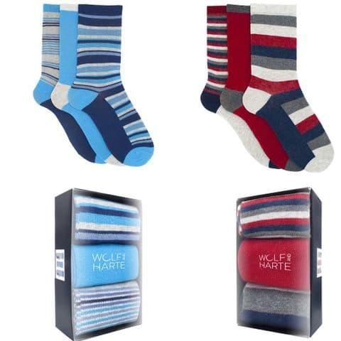 MENS 6 PACK BOXED COTTON RICH SOCKS UK 7-11 Office Dress Sock Gift for Him Work