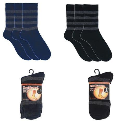 MENS 6 Pairs Socks STRIPED HEAT GUARD WOOL THERMAL SOCK Size UK 7-11 Winter Gift