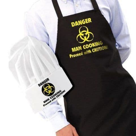 Man Cooking Kitchen Apron Novelty Proceed with Caution Apron and Hat gift Set