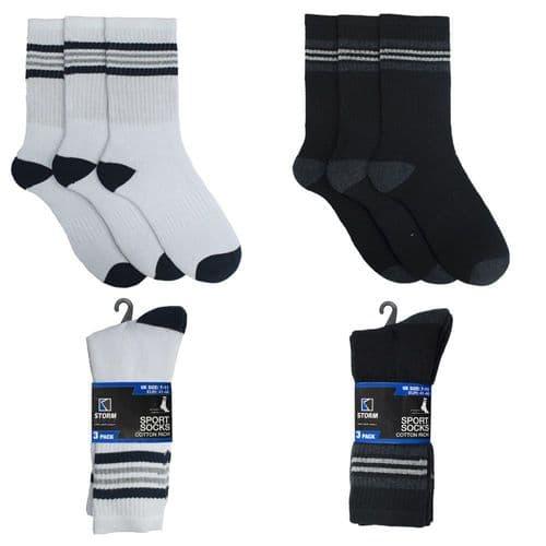 Men`s 3 Pairs Pack Crew Sports Socks Classic Casual Everyday Socks Gym UK 7-11