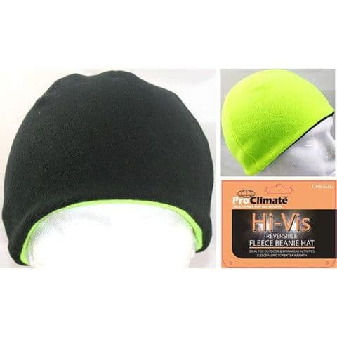 Men's Hi Vis Thermal Fleece Beanie Hat 3M Thinsulate Hats Neon Yellow Reversible