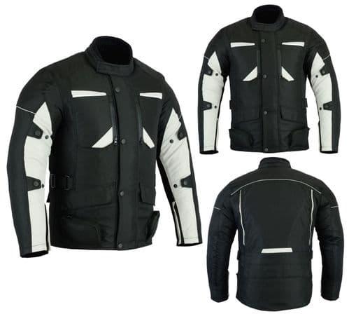 Mens Motorbike Motorcycle Long Jacket DDry Textile Waterproof Duratex Black Grey