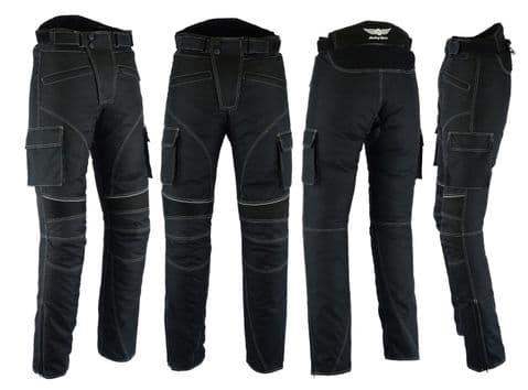 Mens Motorbike Motorcycle Textile Pants Trousers Armoured Waterproof Black Cargo