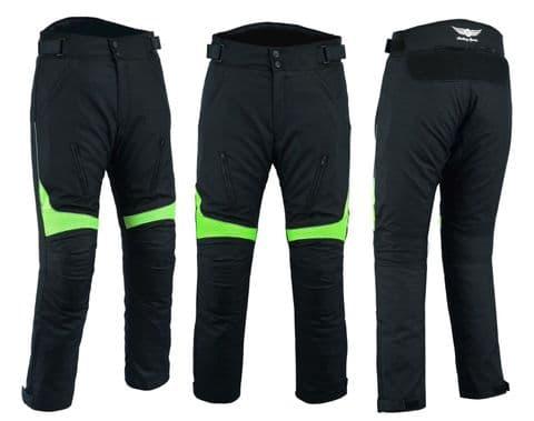 Mens Motorbike Motorcycle Textile Pants Trousers Armoured Waterproof Black H-Viz