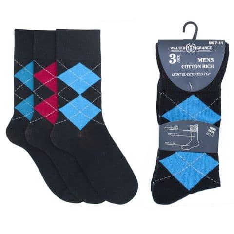 Mens Soft top Non Elastic Socks Dark Diamond Argyle pattern Cotton Blend UK 7-11