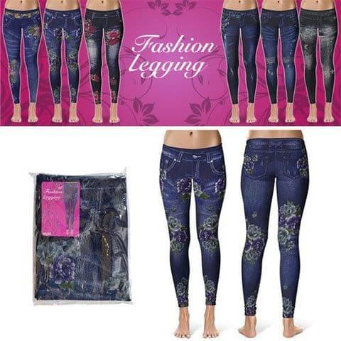 New In Denim Look Girls/Ladies Fashion leggings Dark Rose Ladies 1 size Leggings