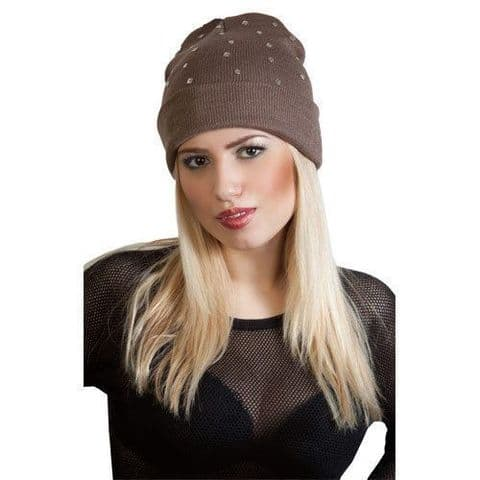 New Ladies Flat Stud Boyfriend Slouch Beanie Hat Black,Brown,Grey & Purple Hat
